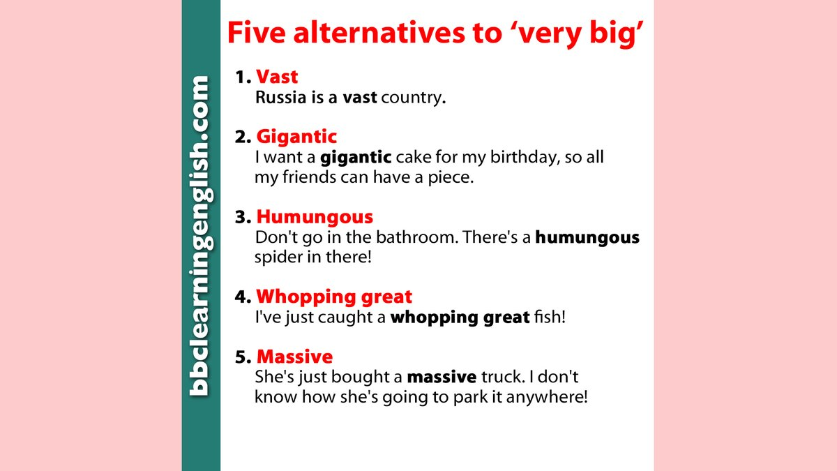 How do you say that something is very, very #big? 🐳 🐘 🌌 Use one of these... (These are not perfect synonyms, and may have different grammar when used in a sentence.) More #vocabulary tables here: bbc.in/3iBhcJH #learnenglish #enormous #elt #massive #english