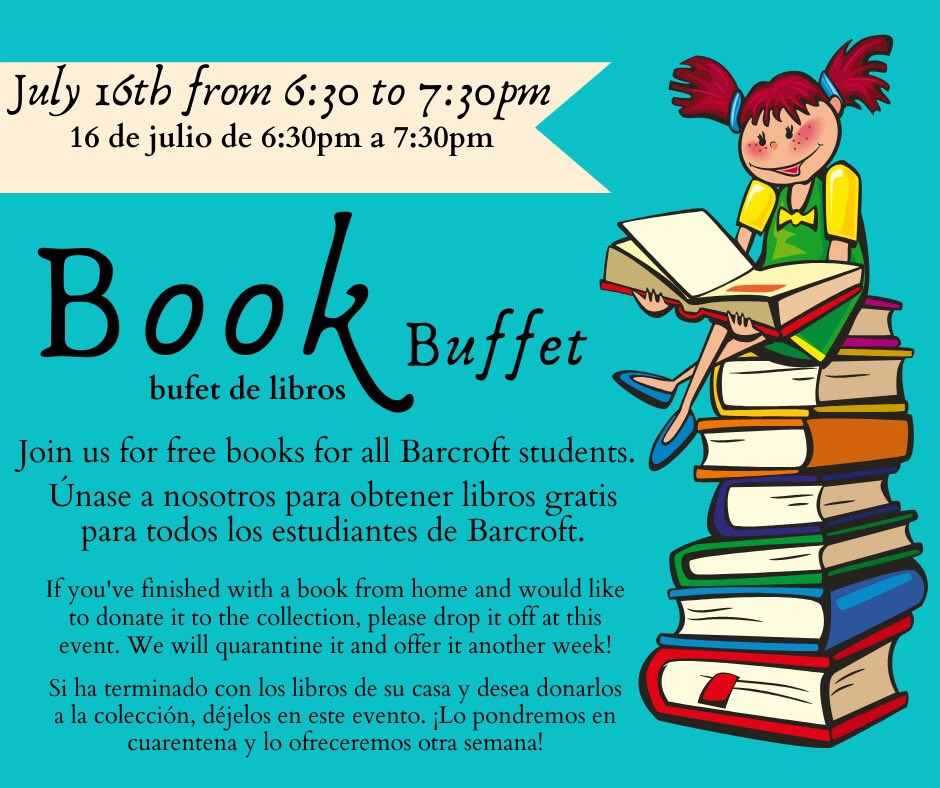 Join us Eagles for the 1st Book Buffet! Choose free fresh books just for showing up.  Thursday, July 16, 6:30pm. <a target='_blank' href='http://twitter.com/GabyRivasAPS'>@GabyRivasAPS</a> <a target='_blank' href='http://twitter.com/krumbiegelgirl'>@krumbiegelgirl</a> <a target='_blank' href='http://twitter.com/barratka'>@barratka</a> <a target='_blank' href='http://twitter.com/laurakcooke'>@laurakcooke</a> <a target='_blank' href='http://twitter.com/TheNinjaLawyer'>@TheNinjaLawyer</a> <a target='_blank' href='http://twitter.com/FabFischFive'>@FabFischFive</a> <a target='_blank' href='http://twitter.com/MarceloRibera7'>@MarceloRibera7</a> <a target='_blank' href='http://twitter.com/MaeveCHWard'>@MaeveCHWard</a> <a target='_blank' href='http://twitter.com/MsBouton'>@MsBouton</a> <a target='_blank' href='https://t.co/ZeKyt0TbsR'>https://t.co/ZeKyt0TbsR</a>