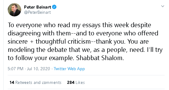 The debate we need? Is there any other effing country in the world whose very legitimacy is questioned? No, only the Jewish state. Face it, Beinart, you are now an antisemite. And your goal is to spread hatred for Jews by pretending that this is a legitimate position.