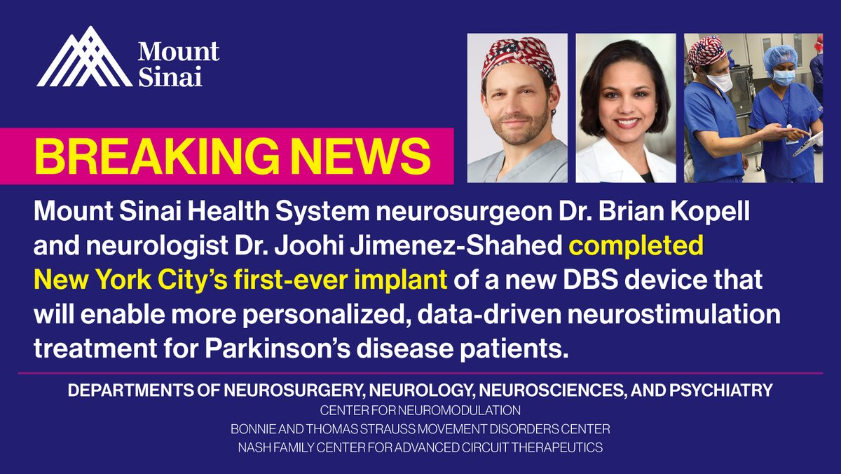 This week, @MountSinaiNYC physicians completed the first-ever implant in NYC of a new deep brain stimulation device! It will enable more personalized data-driven neurostimulation treatment for #Parkinsons disease patients. @Medtronic @MountSinaiDBS @MSHSNeurology @SinaiBrain #DBS https://t.co/wu82lTPCn9