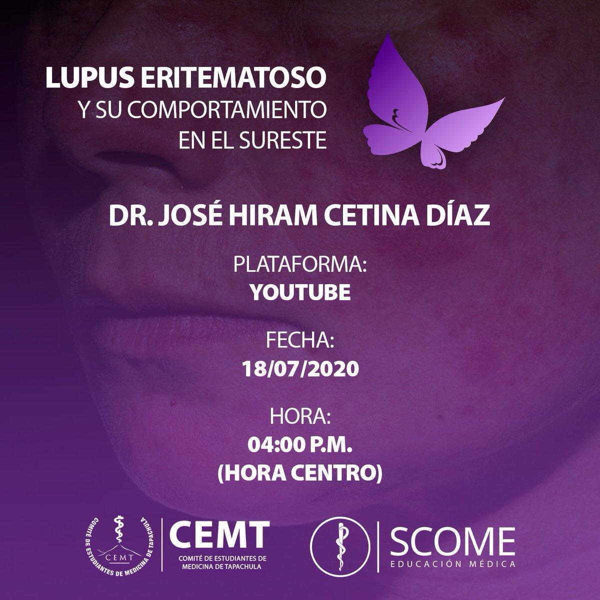 """El CEMT te invita a la videoconferencia de """"Lupus eritematoso en la región del Sureste"""" por el Dr José Hiram Cetina Díaz. Se entregarán constancias por la participación:  Inscríbete aquí  https://forms.gle/A31nvQ5rt5ZcdVyD7…pic.twitter.com/pbJC3yZBMq"""