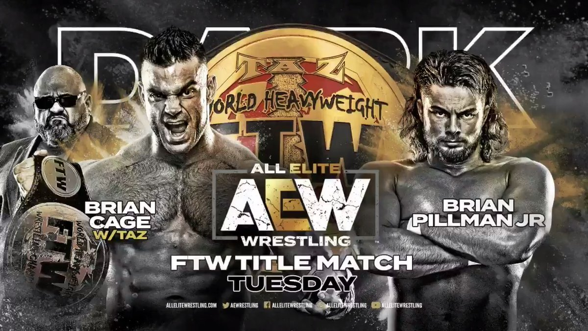 SIX matches are ready for #AEWDark next week with your main event set as the #FTW championship is on the line between champion The Machine @MrGMSI_BCage & challenger @FlyinBrianJr. Watch #AEWDark every Tuesday at 7e/6c via our YouTube channel at youtube.com/allelitewrestl….