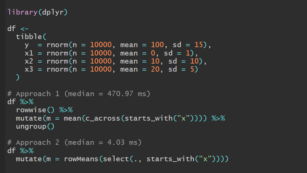 I just wrote a brief tutorial on how to avoid common issues and speed things up when doing row-wise operations in a data frame using dplyr. Check it out! #rstats #r4ds #tidyverse 🔗 https://t.co/cB7ZRn7SxM https://t.co/XAraPkuHnX