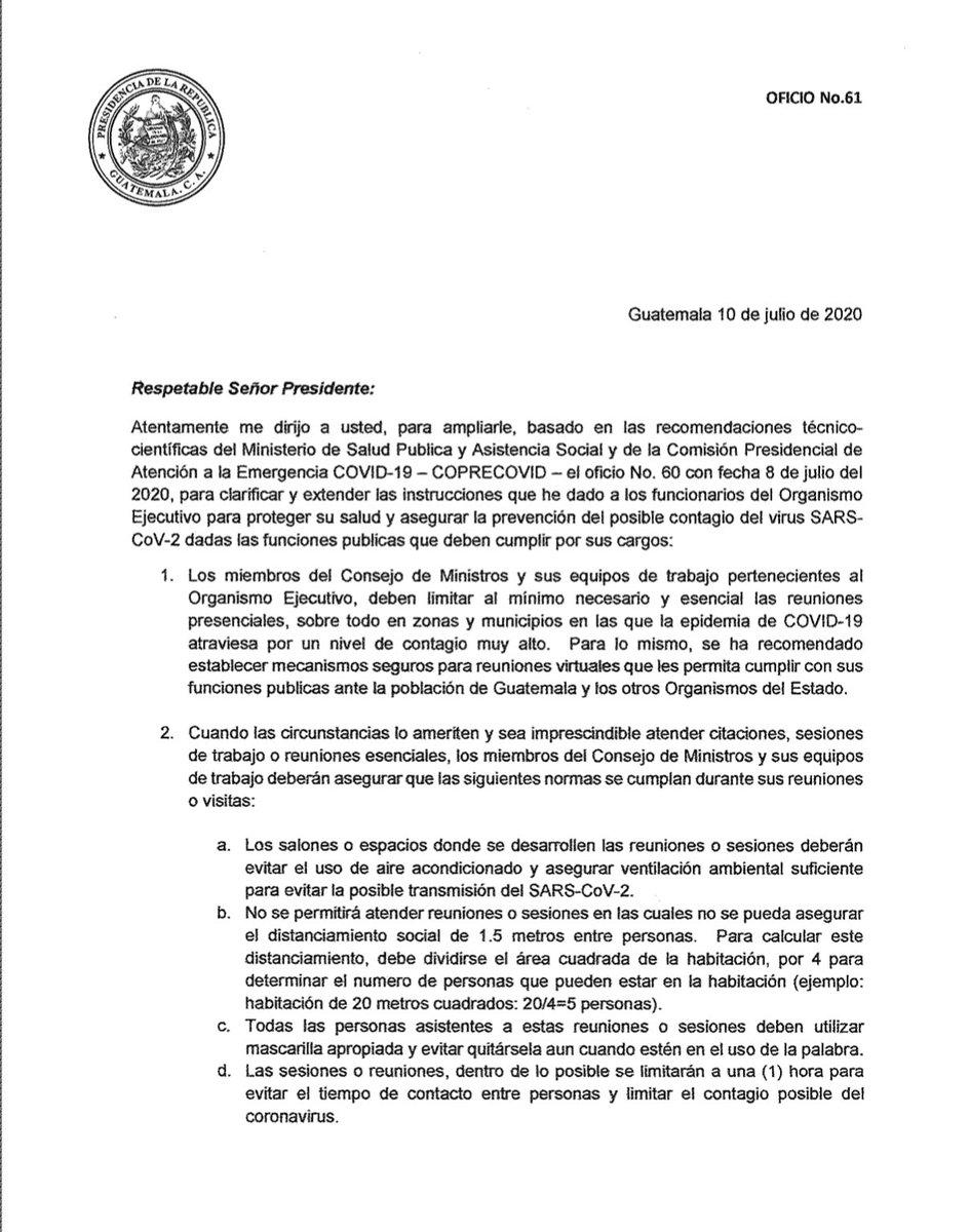 test Twitter Media - El Presidente Alejandro Giammattei informó al Congreso que por recomendación del ministerio de Salud, el consejo de ministros debe limitar al mínimo las reuniones presenciales y atender mecanismos de seguridad por riesgo de contagio de COVID-19. https://t.co/TVFN3j5dX9