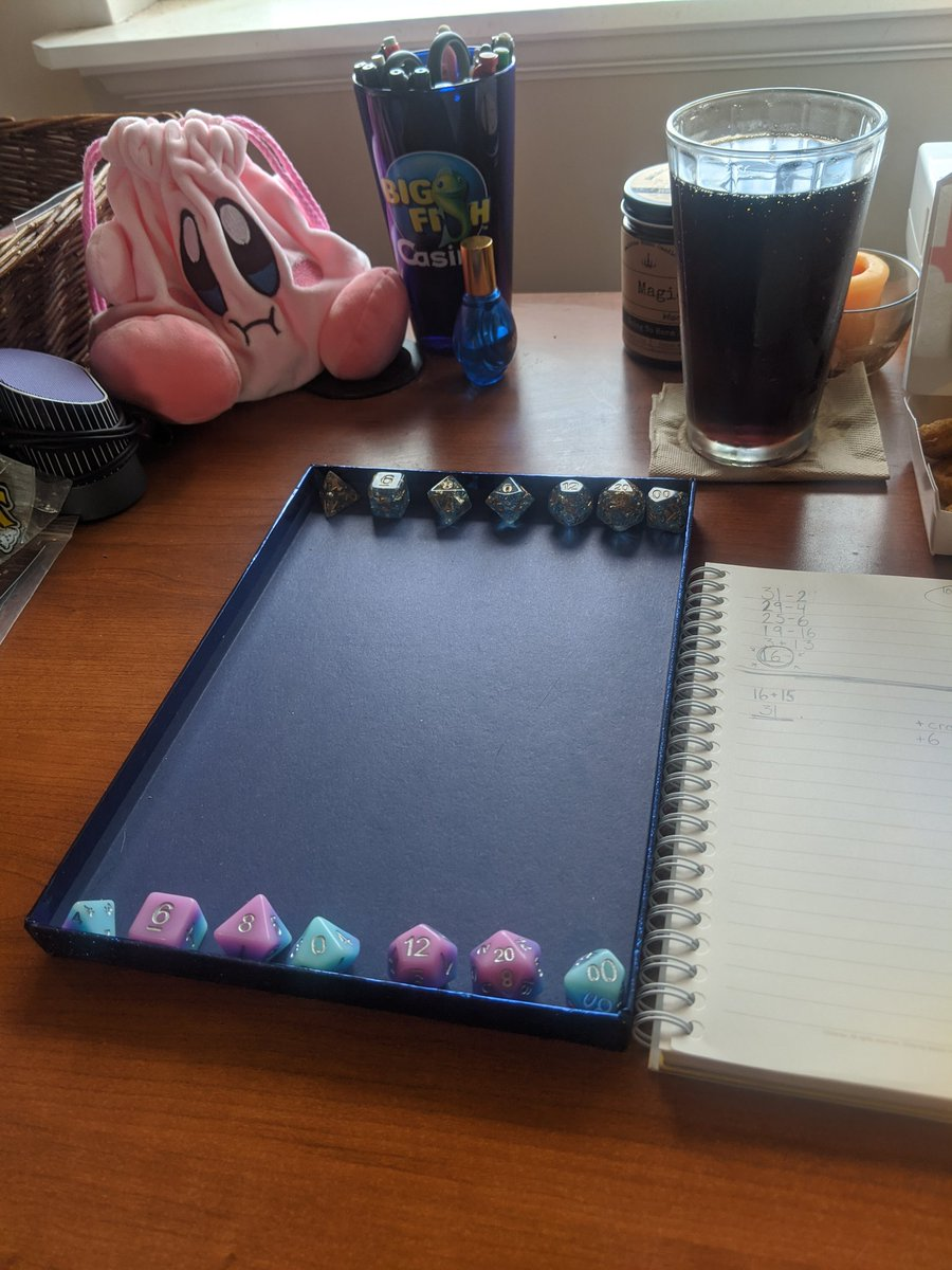 Almost time for D&D and breaking in my two new sets of dice! Also featuring the World's Cutest Dice Bag. pic.twitter.com/61458w6KwH