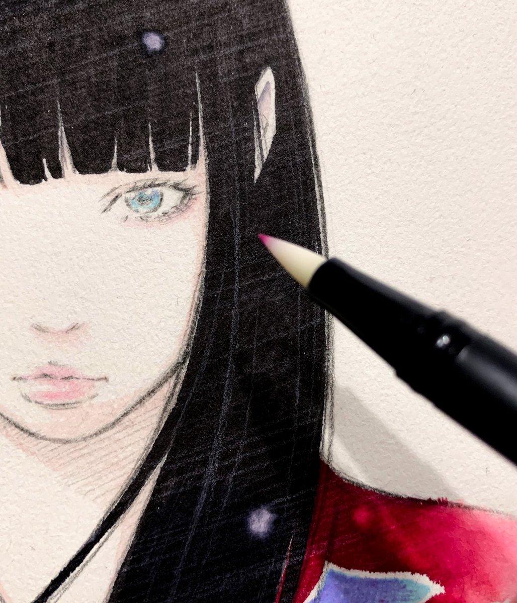 初めて使う水彩ペン。慣れるまでひたすら道具と対話。