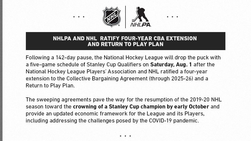 NHL and NHLPA ratify four-year CBA extension and Return to Play Plan. #StanleyCup Qualifiers to begin August 1. https://t.co/IErZJ2hifT https://t.co/f5HgirRFLB