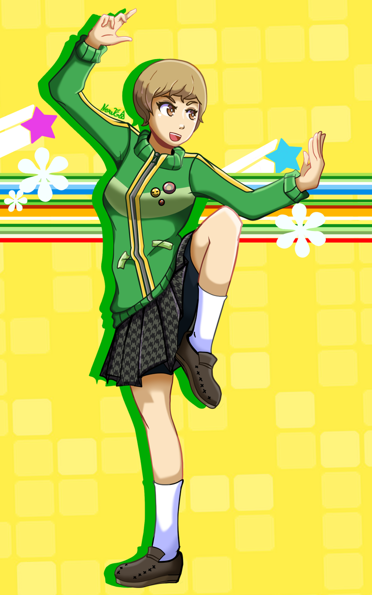 I finished playing Persona 4 Golden a few days ago and I really wanted to draw my favourite character So here she is, Chie Satonaka !! I love her a lot #Persona #Persona4 #Persona4Golden