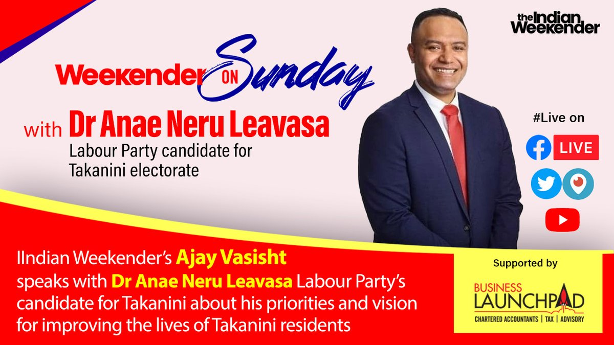 On Weekender on Sunday we speak with Dr Anae Neru Leavasa Labour Party's candidate for Takanini. Join us #Live on YouTube, Twitter and Facebook TOMORROW at 4pm. @nleavasa @JennySalesa @michaelwoodnz @Stuart_NashMP @grantrobertson1 @DavidParkerMP @priyancanzlp @AndrewLittleMP