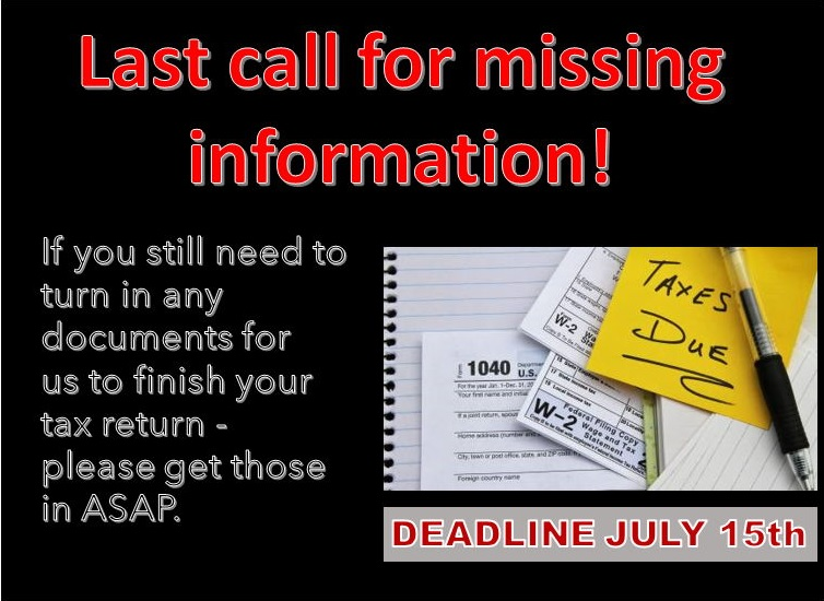 If you have any questions please call us @ 281-440-6279 and we would be happy to assist. #Taxes2020 #July15 #MissingInfo #molentax