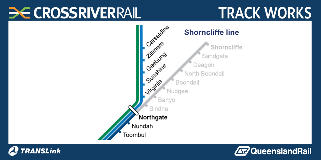 Due to general track maintenance & Cross River Rail signal system upgrades, timetabled railbuses will replace trains between Northgate & Shorncliffe stations from first service today (Saturday 11 July) until last service Sunday 12 July. More info: https://t.co/yWfbax4fGo https://t.co/laZwDNI7Dn