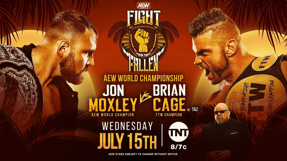 Fight For The Fallen is my favorite AEW show because we raise money each year for the Jacksonville community! Wednesday on #AEWDynamite! - #AEWTitle @JonMoxley v. FTW Champ Brian Cage w/ Taz -TNT Title @CodyRhodes v. @SonnyKissXO -The Elite v. Jurassic Express -Lucha Bros v. FTR