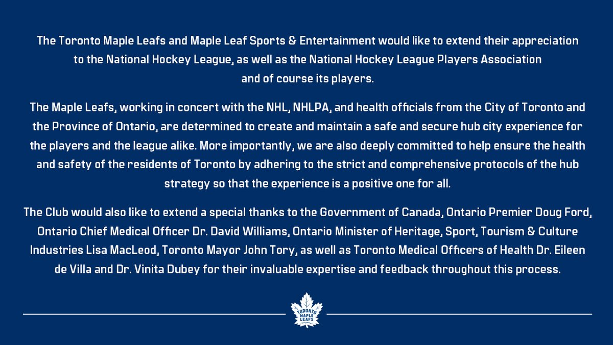 Maple Leafs statement on Toronto being selected as an @NHL Hub City. #LeafsForever