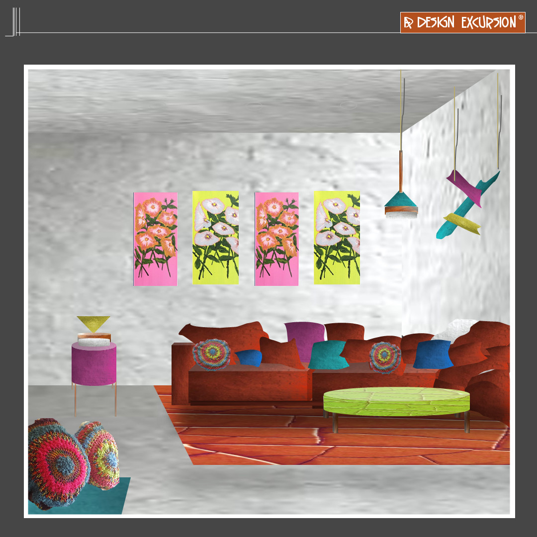 add pops of playful colours #interiordesign #ontrend #2021trends art by @JeaneneHyles