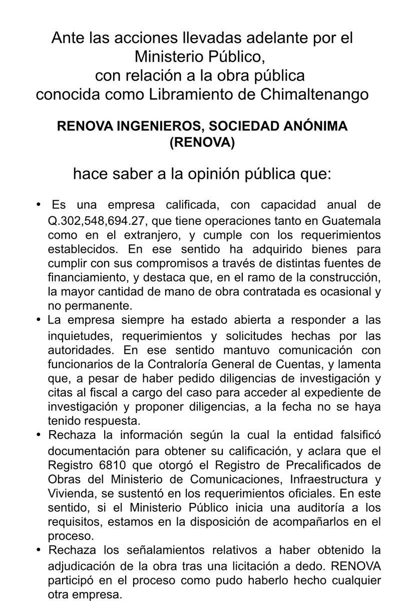 """test Twitter Media - RENOVA Ingenieros se pronuncia por los allanamientos y capturas realizadas este día por el MP y la PNC por el caso """"Libramiento de Chimaltenango"""" https://t.co/OQQuPQKgWF"""