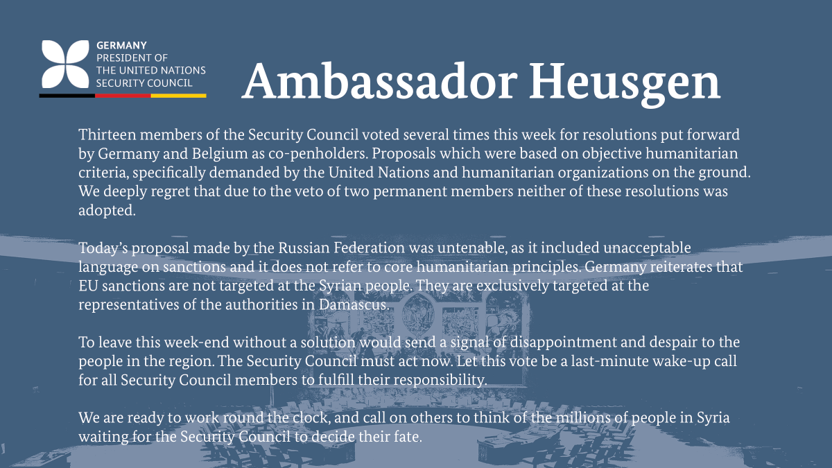 Ambassador Heusgen following today's UN #SecurityCouncil meeting on the humanitarian situation in #Syria ⤵️ https://t.co/p9aYbAQeRm