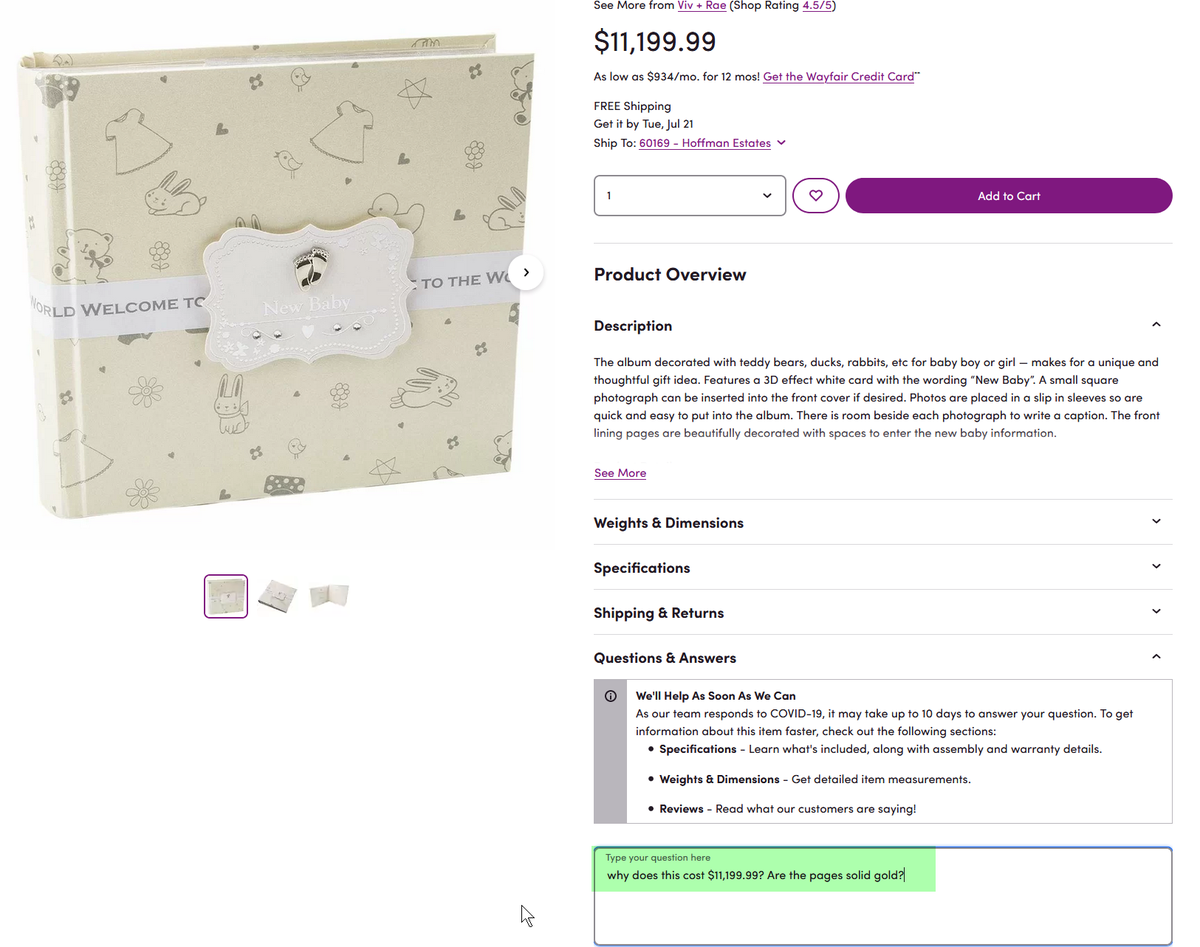 #databreach #hacked accounts #Pricegouging  @CyberSecurityN8 @SydneySchuster #cybercrime @nbcchicago @cbschicago @ABC7Chicago @KwameRaoul  @truthandlight4  $11,000 for an album on #Wayfair is outrageous who pays these high prices?pic.twitter.com/kxG27ZjbiU