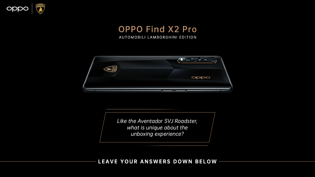 #QuizAlert - What makes the unboxing experience of the #LamborghiniEditionFlagship unique like the supercar? Share your answers to win the #OPPOFindX2Pro Automobili Lamborghini Edition! Stay tuned for more #OPPOxLamborghiniTrivia!  T&C: https://t.co/7e3dYGJ9zW https://t.co/mtC44culrs