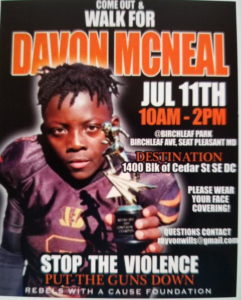 Family and friends will march from Seat Pleasant to Cedar St. SE tomorrow, in honor of #DavonMcNeal. https://t.co/idQ4jRTKRo