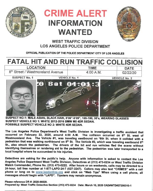 We need your help! If you have any information regarding this Fatal Hit & Run Collision, which occurred in the area of 8th & Westmoreland on 2/22/20 at approx. 0400 hrs, please contact @LAPDWestTraffic Detectives at (213) 473-0234 / (213) 473-0222. #LAPD #VisionZero