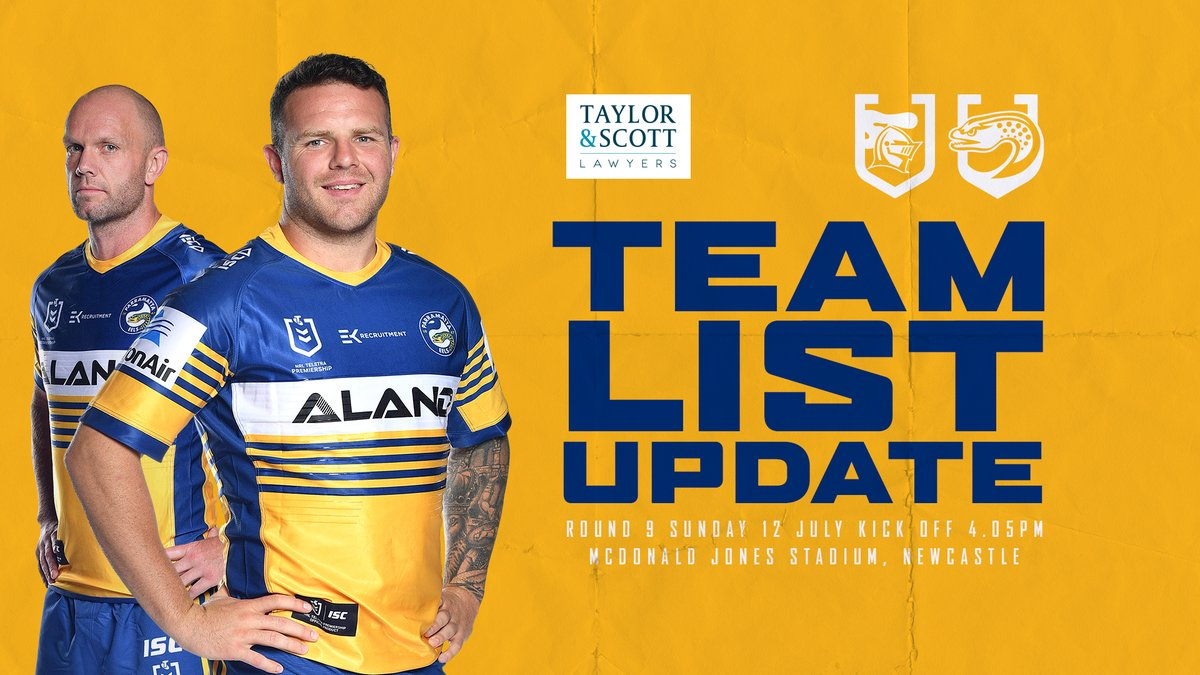 Parramatta Eels On Twitter Team List Update With 24 Hours To Go Until Our Clash Against The Knights Ba Has Updated The Squad To 19 Players See The Latest Team List