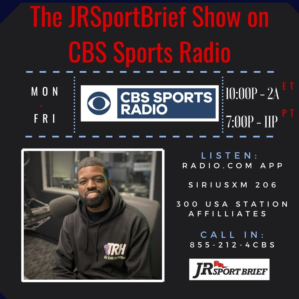 🎙 It's time for Friday's @JRSportBrief ▪️ Should Tom Brady have a stronger voice in speaking up for fellow #NFL players? 🏈 ▪️ Is DeSean Jackson's punishment justified? ▪️ @steelers O-Lineman @ZBNFL joins 📞 855-212-4227 📻 cbssportsradio.radio.com/shows/jrsportb… 📡 @SIRIUSXM 206