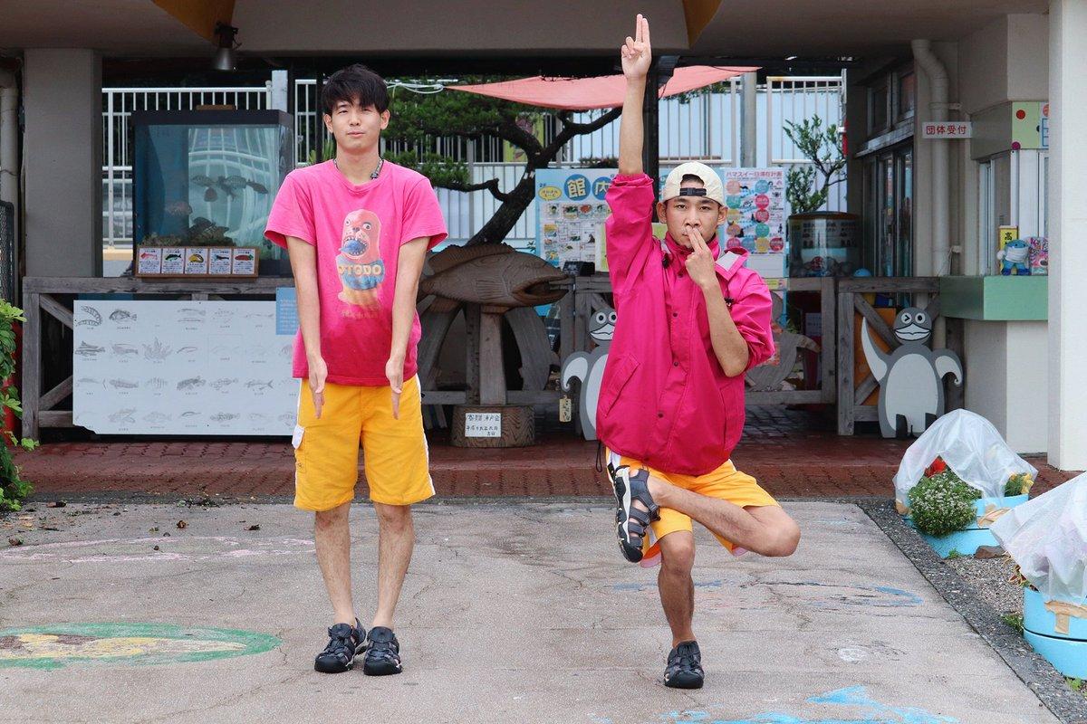 桂浜水族館の飼育員ふたりが「コンビーフ」をテーマにポーズをとった場合、こうなるらしい。コンテンポラリーです。
