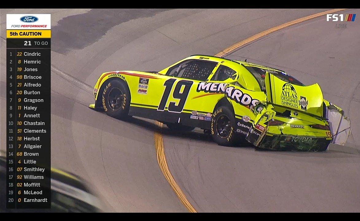 Accidente de Brandon Jones a falta fe 22 vueltas parael final. #NASCAR Xfinitypic.twitter.com/y4lcRK1boo