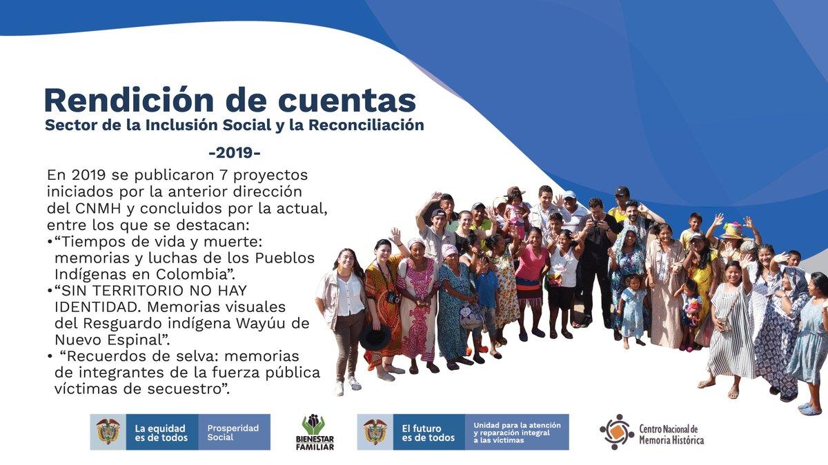 Durante el año 2019, se publicaron 7 proyectos iniciados por la anterior dirección del CNMH y concluidos por la actual #TrabajamosPorLasVíctimas https://t.co/EsjIbqm9jG