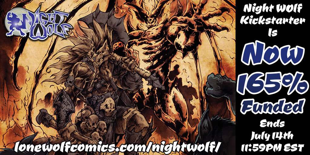The #NightWolf #Kickstarter is only 7 backers away from the next Digital Stretch Goal and $171 away from unlocking the next Physical Stretch Goal! Featured art by @dracodelcaos! Who will be the next to join the #WolfPack?! https://t.co/y2HiKZz3Zs  #comicbook #werewolf #werewolves https://t.co/buBSLg2ceB