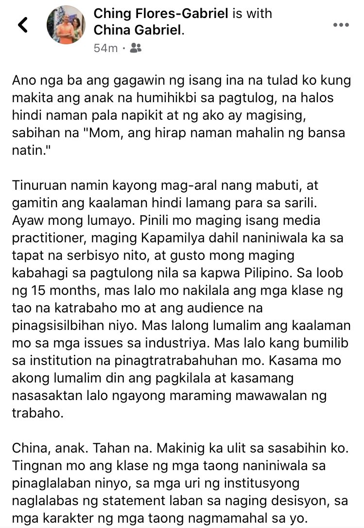 Dami ko nang naiyak the past few hours, but I would like to share with you my mother's letter to me after the House panel denied ABS-CBN of its franchise rights yesterday.   #DefendPressFeedom  #IbalikAngABSCBN  #KapamilyaForeverpic.twitter.com/eLdETcUdgC