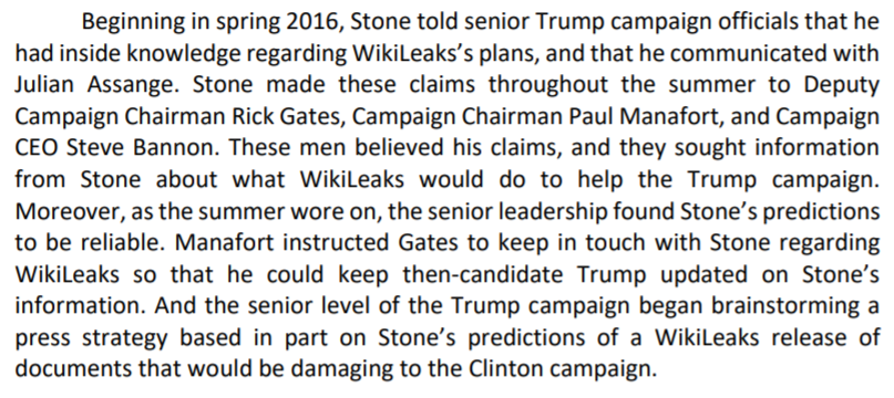 First, Stone was deemed the Trump campaign's access point to Wikileaks, which possessed stolen Democratic information from Russian hacks: /3 https://t.co/FbKl2whl45