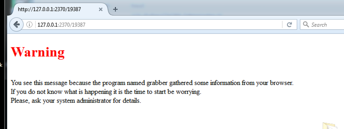 2020-07-10:⌛️[Sandbox] #TrickBot PwGrabber: Researcher/Vigilante Takeover?🤔 Pop: You see this message because the program named grabber gathered some information from your browser. If you do not know what is happening it is the time to start be worrying. cc @malwrhunterteam