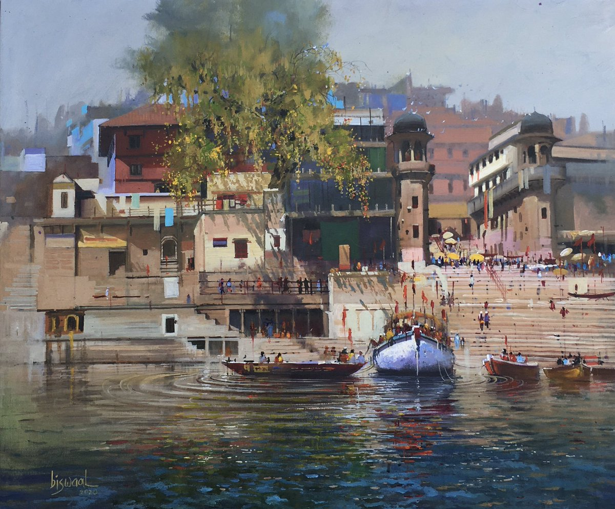 NOISE OF CARANASI .. #acrylic #painting #art #Varanasi #ghat #realism #acrylicpour #biswaalart #Hindutva #travelgram #spiritual  wanted the viewers to hear the midday sounds of the ghats here #ArtistOnTwitter #winsorandnewtonpic.twitter.com/xXmHQTTCuY