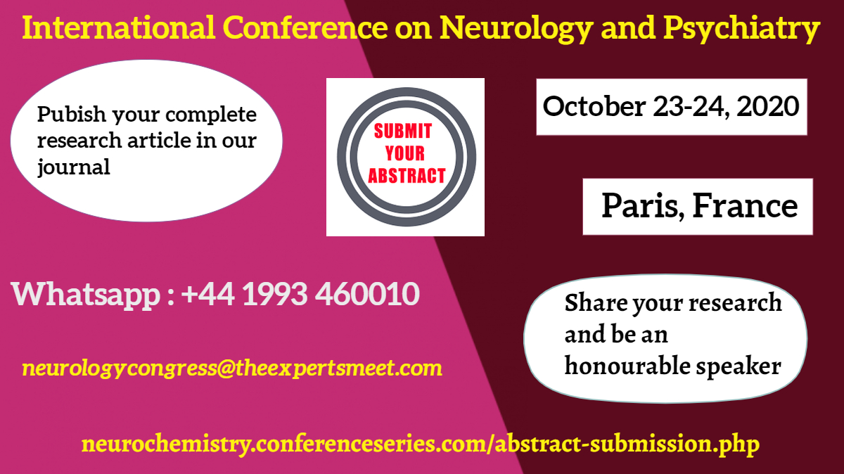 Submit your #abstract soon and Publish your research article through the #International #Conference on #Neurology and #Psychiatry which is scheduled during #October 23-24, 2020 at #Paris, #France  Submit your abstract through: https://neurochemistry.conferenceseries.com/abstract-submission.php…pic.twitter.com/Mlior4WNLp