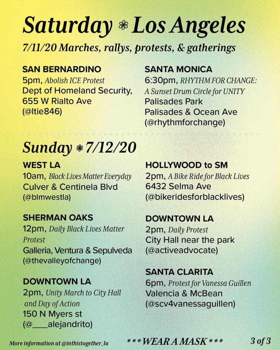 List of protests happening in Los Angeles this weekend. Wear your mask. 😷  #santamonicaprotest #ComptonProtest #SantaClaritaProtest #LAprotest #Hollywoodprotest https://t.co/ABvO2r8rAu