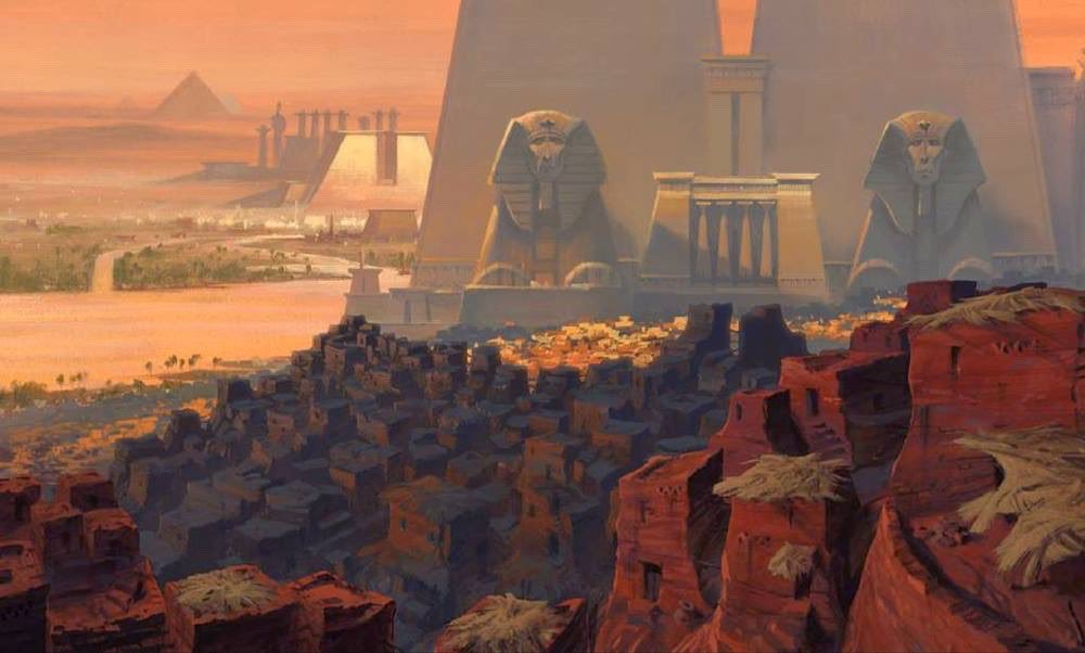 Animation art from DreamWorks' THE PRINCE OF EGYPT (1998). Paul Lasaine did some truly gorgeous concept drawings for that film. <br>http://pic.twitter.com/5oTdbIJ4cb