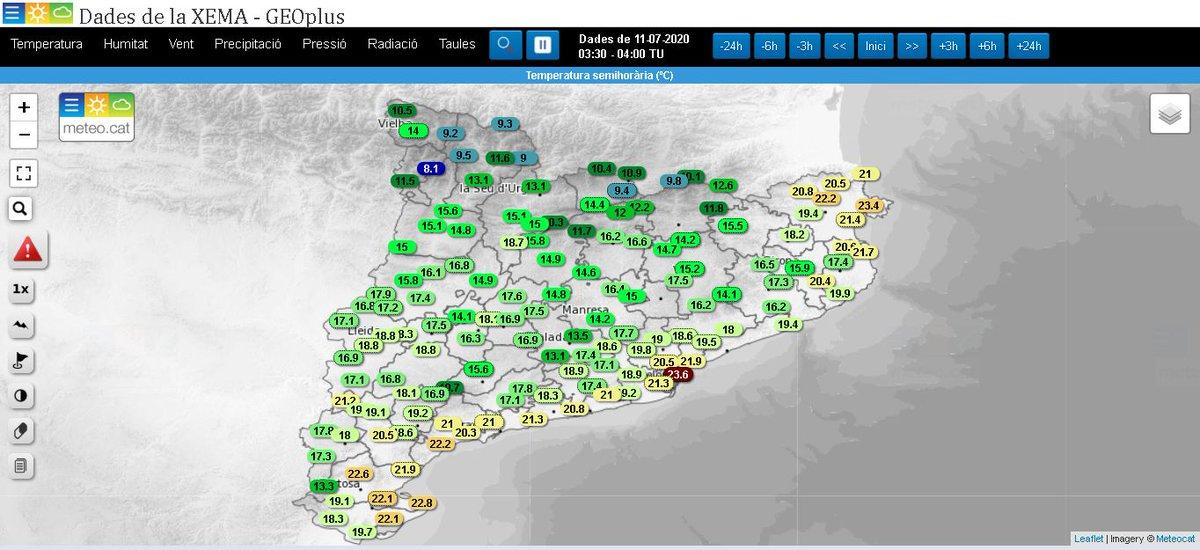 Bondia! S'inicia el cap de setmana amb el cel serè en general, i algun interval de núvol al vessant nord del Pirineu.  La temperatura és més baixa, tret de l'Empordà i zones del litoral sud.  Aquí la variació en 24 hores i els valors actuals 👇 https://t.co/DViUzMGiBC