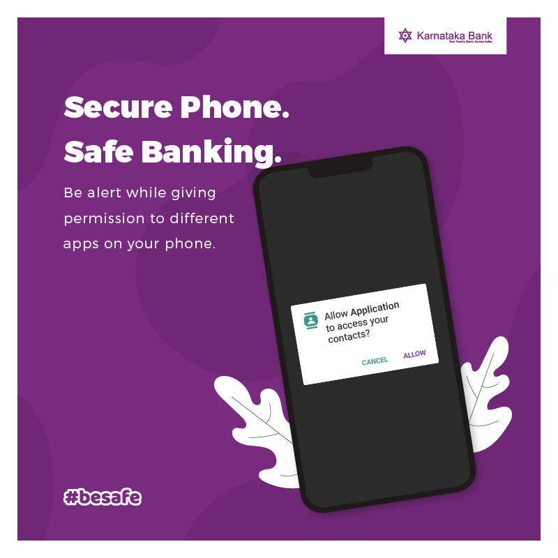 Don't give any suspicious Apps permission to access your phone. Easy access to phone means easy access to personal data.  #BeSafe #KarnatakaBank #CyberSafety #CyberSecurity #Bankingpic.twitter.com/ote5dBUtOQ