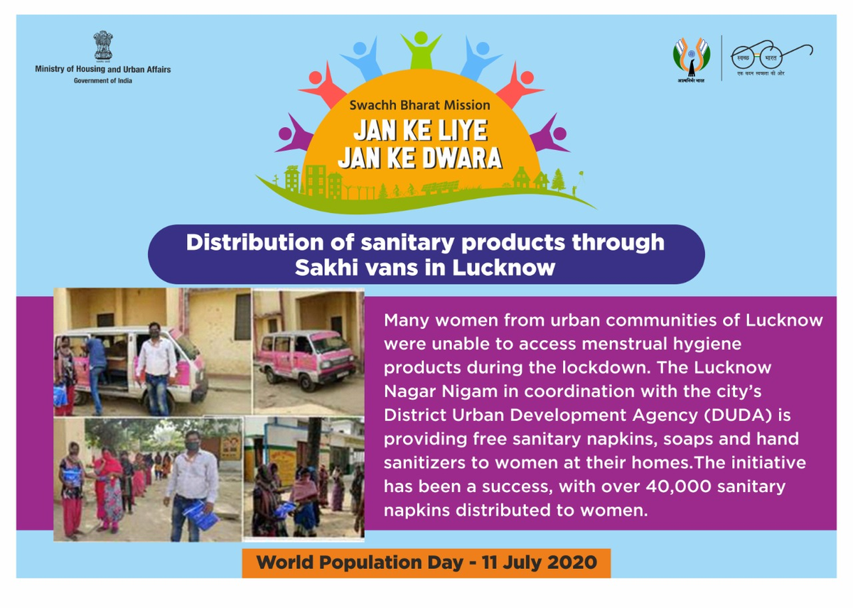In Lucknow, authorities & citizens are working together to provide sanitary napkins, soaps & hand sanitizers to women at their homes.  To celebrate the essence of #WorldPopulationDay, we salute their efforts!  #MyCleanIndia https://t.co/nLX9bnRK3n
