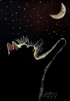 Good night on this National Kitten Day! The art was done by whoever signed the piece.   #NationalKittenDay  #StarArt #Kitten #BlackCat #GoodNight #Moon #Stars pic.twitter.com/6qEXai6Kpf