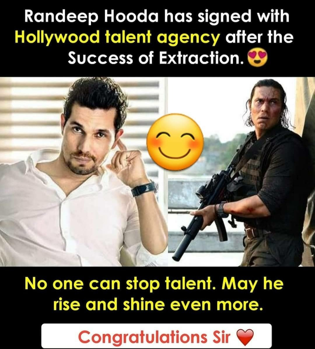 Congratulations sir!!! 🎉🎉🎉 You have done a excellent work in extraction 💯 You really deserve this!!!!!  @RandeepHooda  #randeephooda  #talent  #Hollywood https://t.co/zCDgcGCTuw
