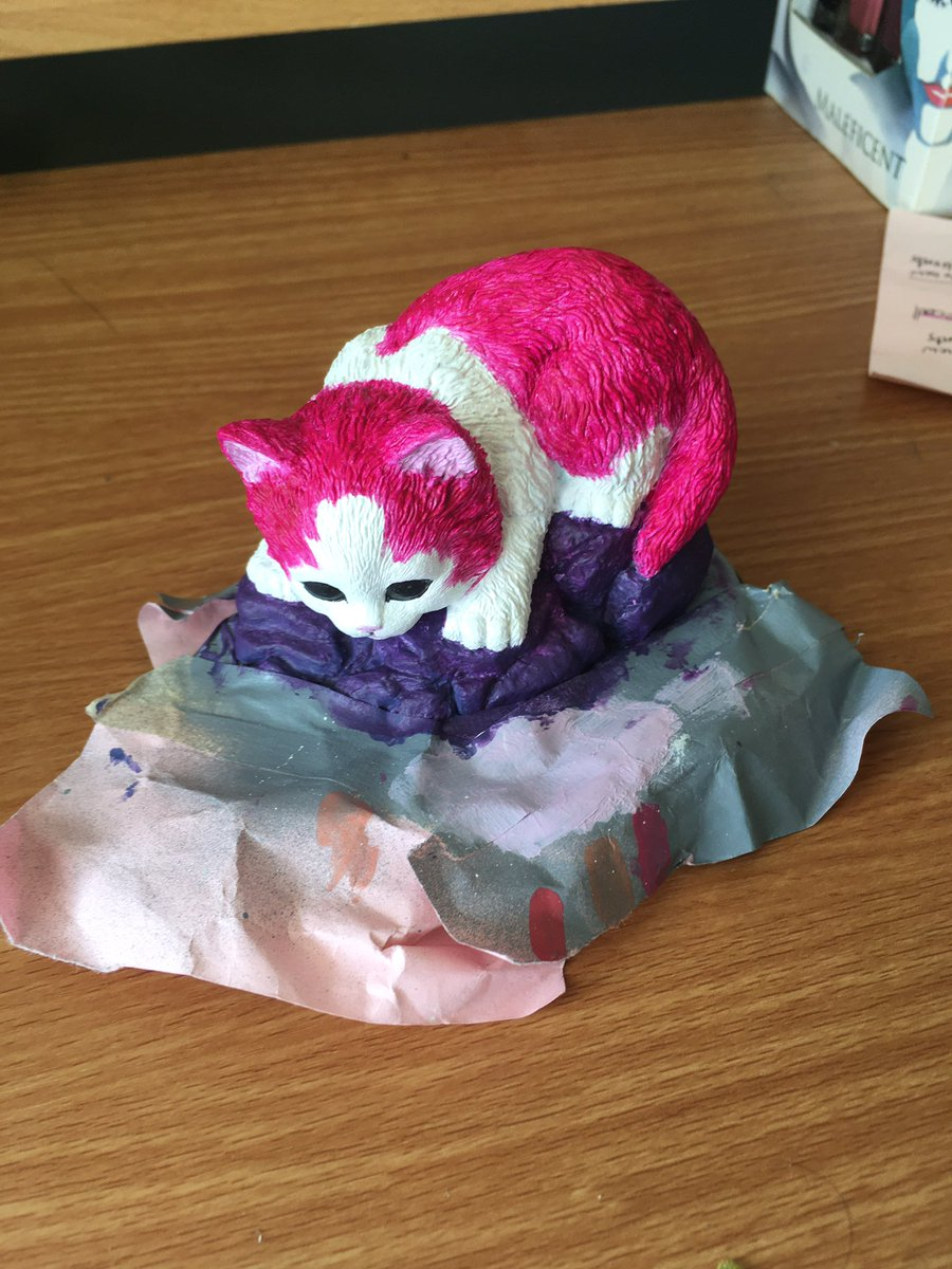 My MIL gifts me a lot of thrift store cat figurines. My quarantine project has been giving them Lisa Frank Horror makeovers https://t.co/bOLWs2aFQY