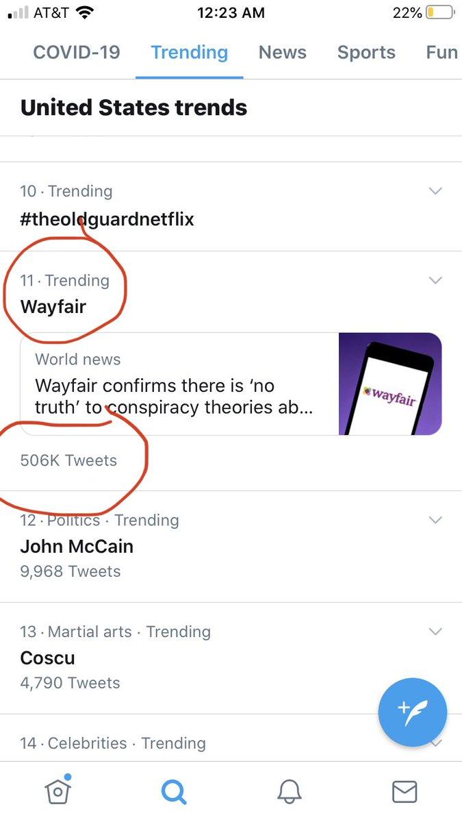 Wonder what algorithm Twitter uses for trending   #Wayfair  #wayfairtrafficking<br>http://pic.twitter.com/ez5h2LIgAI