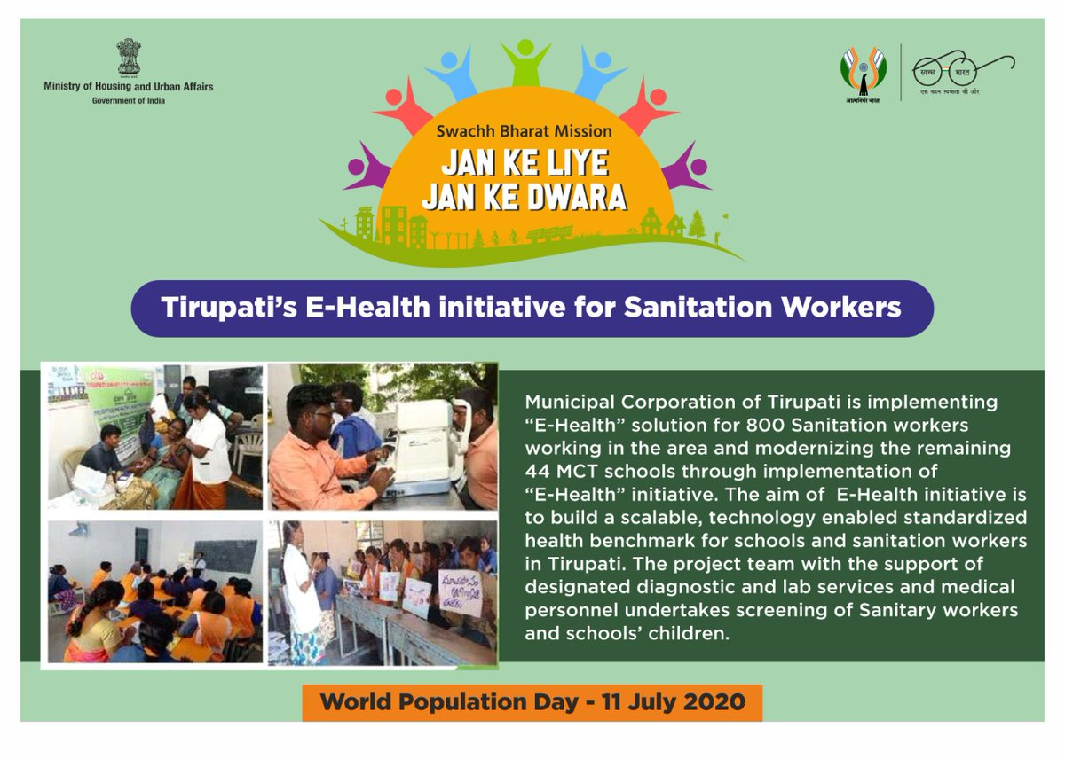 The aim of  E-Health initiative is to build a scalable, technology enabled standardized health benchmark for schools and sanitation workers in Tirupati.  #WorldPopulationDay2020 #WorldPopulationDay #MyCleanIndia https://t.co/uluHuPVtFd
