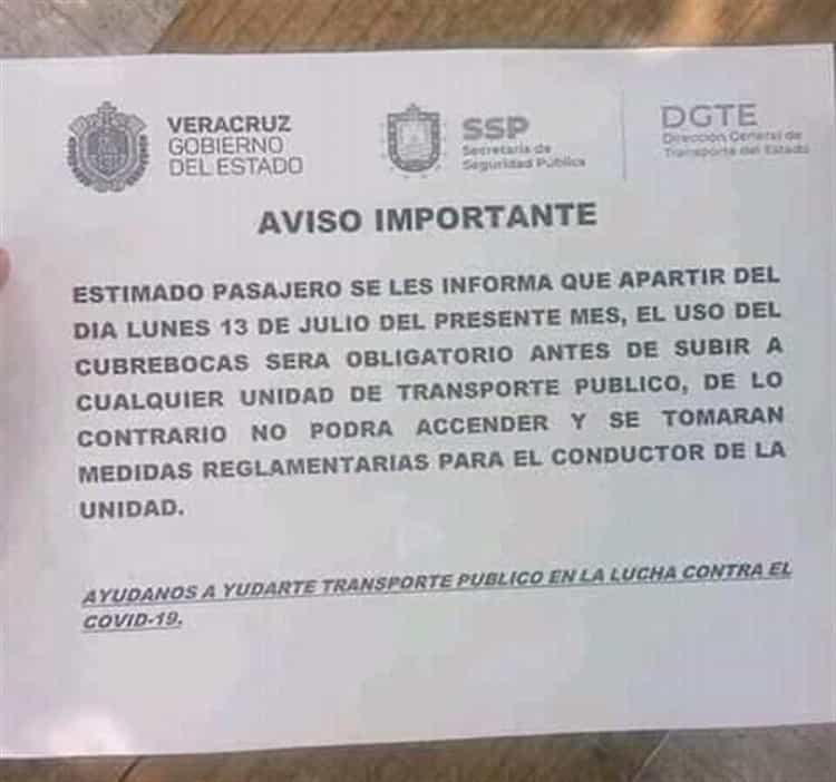 Cubrebocas obligatorio en Transporte Público de Veracruz para evitar los contagios