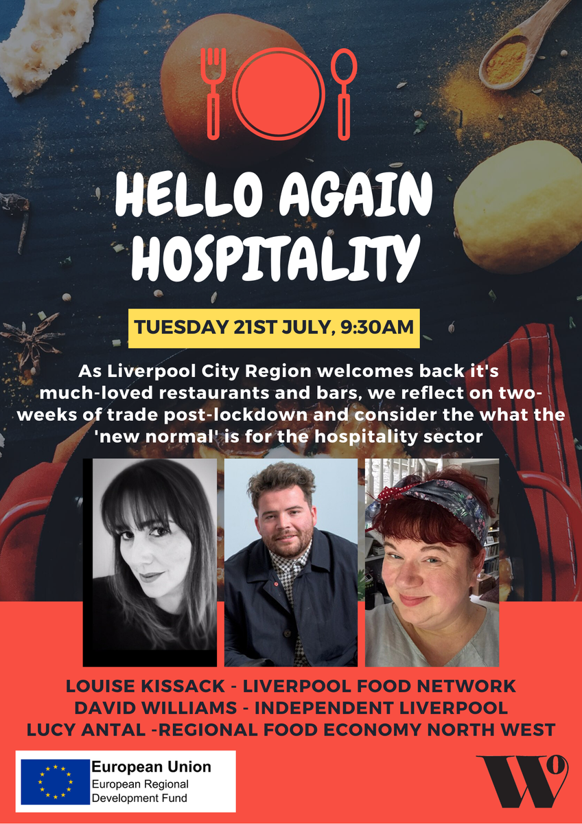 Hear from Liverpool's hospitality experts as they consider the 'new normal' for our much-loved restaurants & bars  🍽️  Louise Kissack - Liverpool Food Network David Williams - @IndpndtLiv Lucy Antal - @GrabYourSpoon  📆 Tuesday July 21st, 9:30am 👉  https://t.co/qA2GYfDKUl https://t.co/Av3qhWbfHk