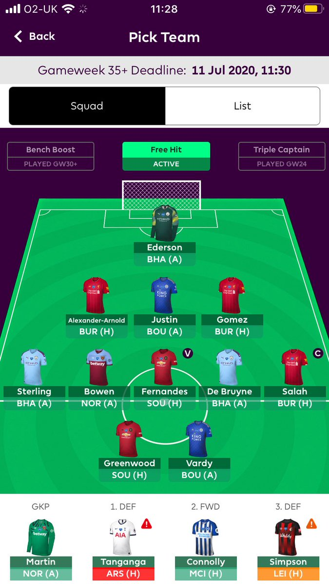 GW35+ couldn't stand not having Salah in my team after last gameweek so played the FreeHit!  Now seems the best gameweek with some 'easy' fixtures for the big guns!  Slipped down to 43k last gameweek hoping to bounce back #FPL<br>http://pic.twitter.com/hcB1yKPUBO