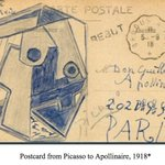 """Image for the Tweet beginning: Apollinaire's """"Post Card"""" meditates on"""