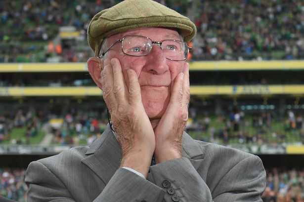 Jack Charlton's reaction to the standing ovation he received from Ireland fans in 2015.